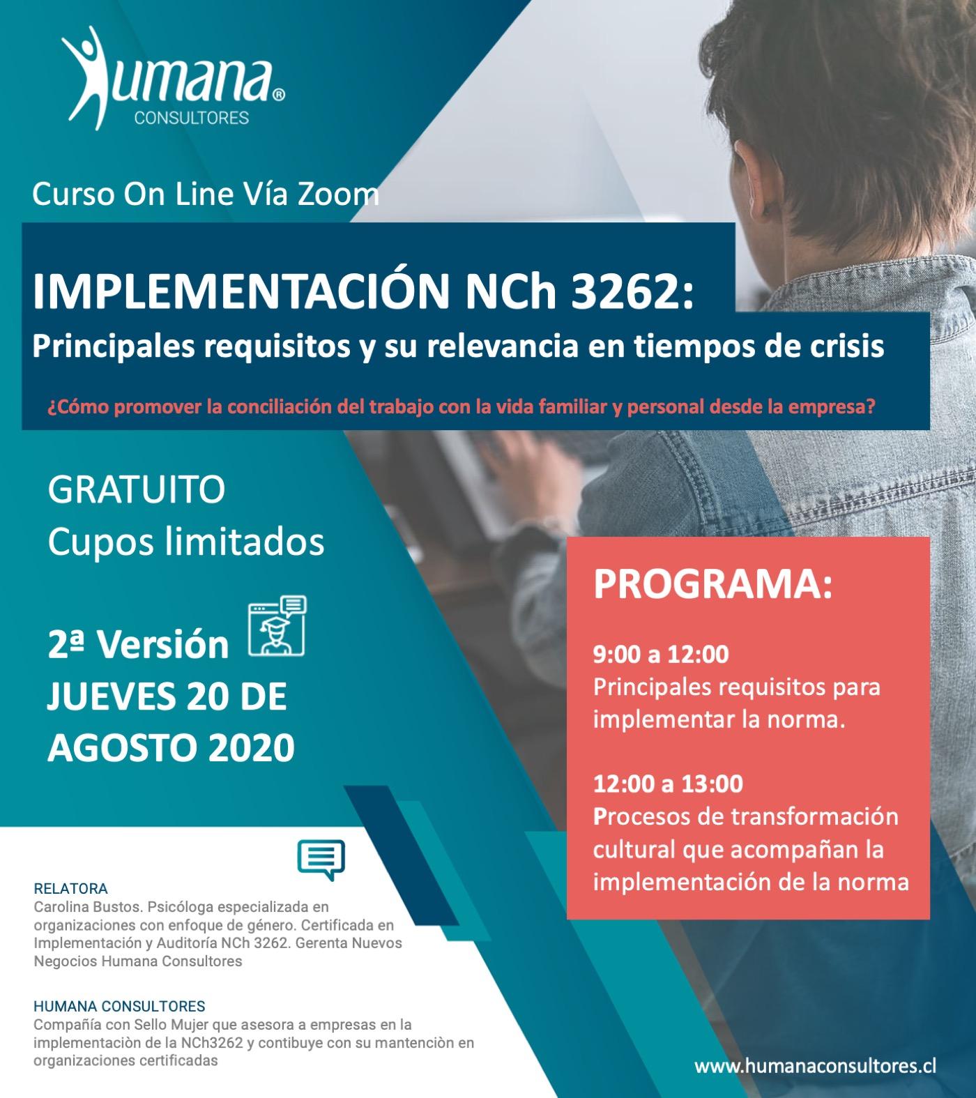 HUMANA CONSULTORES INVITA A 2ª VERSIÓN DE  CURSO GRATUITO DE IMPLEMENTACIÓN DE LA NCh3262